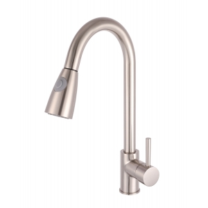 Kitchen Sink Mixer Tap Pull-Out Spray Single Handle Brushed Steel