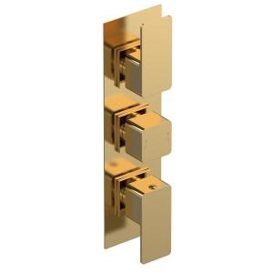 Windon Brushed Brass Triple Thermostatic Shower Valve