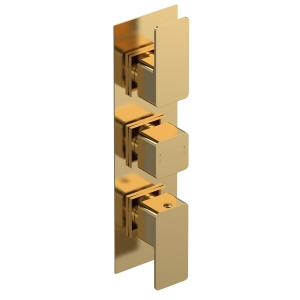 Windon Brushed Brass Triple Thermostatic Shower Valve With Diverter