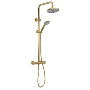Brushed Brass Round Thermostatic Bar Valve & Shower Kit