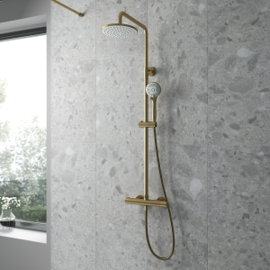 Round Brushed Brass Thermostatic Shower Column With Telescopic Slide Rail Kit & Hand Shower