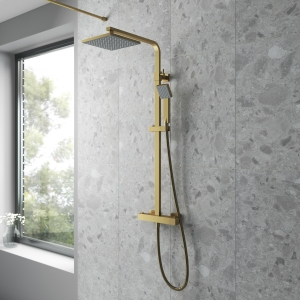 Square Brushed Brass Thermostatic Shower Column With Telescopic Slide Rail Kit & Hand Shower