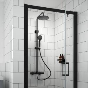 Round Matt Black Thermostatic Shower Column With Telescopic Slide Rail Kit & Hand Shower