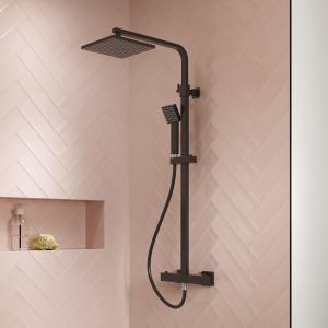 Square Matt Black Thermostatic Shower Column With Telescopic Slide Rail Kit & Hand Shower