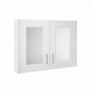 York White Ash 800mm Two Door Mirror Unit