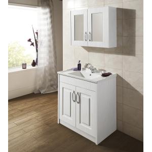 """York"" White Ash 790mm (W) x 595mm (H) x 162mm (D) Twin Door Mirror Cabinet"