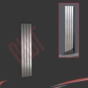 300mm (w) x 1200mm (h) Luna Designer Chrome Vertical Flat Panel Radiator