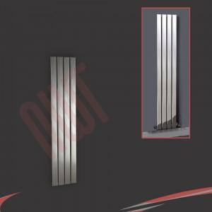 300mm (w) x 1200mm (h) Luna Designer Chrome Vertical Flat Panel Radiator