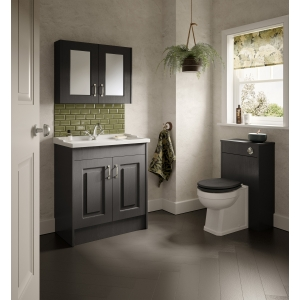 """York"" Royal Grey 790mm (W) x 595mm (H) x 162mm (D) Twin Door Mirror Cabinet"
