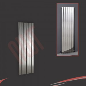 "450mm (w) x 1200mm (h) ""Luna"" Designer Chrome Vertical Flat Panel Radiator (6 Sections)"