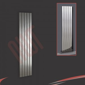 "375mm (w) x 1600mm (h) ""Luna"" Designer Chrome Vertical Flat Panel Radiator (5 Sections)"