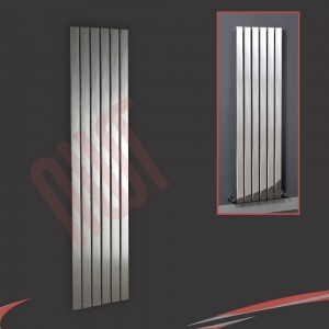 "450mm (w) x 1800mm (h) ""Luna"" Designer Chrome Vertical Flat Panel Radiator (6 Sections)"