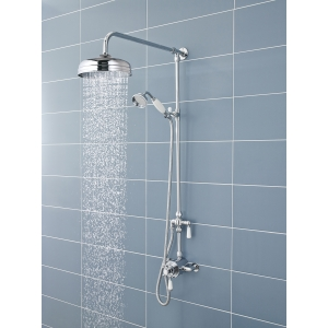 """Victorian"" Chrome/White Shower Column, Rigid Riser & Grand Rainfall Shower Head"