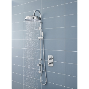 Traditional Chrome Rigid Riser Shower Column With Concealed Elbow & Hand Shower