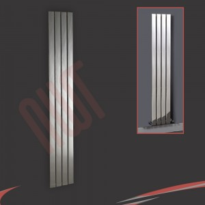 300mm (w) x 1800mm (h) Luna Designer Chrome Vertical Flat Panel Radiator