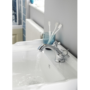 """""""Beaumont"""" Luxury Mono Basin Mixer Tap Dual Handle with Pop-up Waste"""