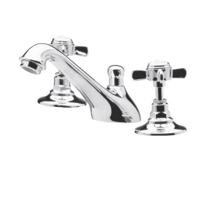 Beaumont 3-Hole Basin Mixer Tap Deck Mounted with Pop-up Waste
