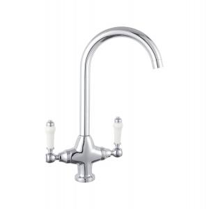 Cruciform Traditional Mono Kitchen Sink Mixer Tap, Dual Handle