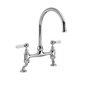 Bridge Kitchen Sink Mixer Tap Dual Lever Handle
