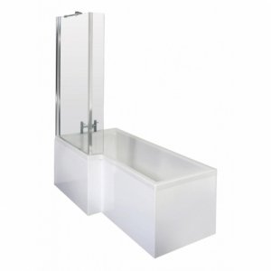 Square Shower Bath with Screen & Front Panel Left Handed Set 1700mm x 850mm