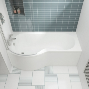 """""""B-Shaped"""" Luxury Shower Bath - 1500mm To 1700mm (L) x 900mm (W) Left Or Right Hand Option"""