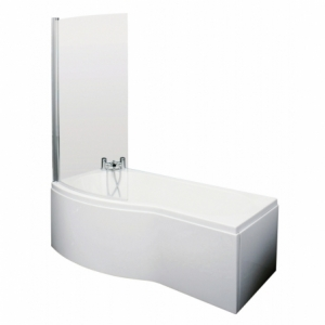 B-Shaped Shower Bath with Screen & Front Panel Left Handed 1500mm x 900mm