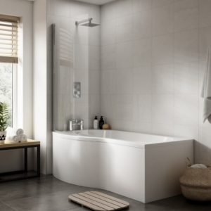 """""""B-Shaped"""" Luxury Shower Bath - 1500mm To 1700mm (L) x 900mm (W) Left Or Right Hand Option (Includes Panel & Screen)"""