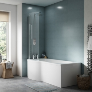 P-Shaped Shower Bath with Screen & Front Panel Left Handed 1500mm x 850mm