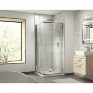 """""""Pacific"""" 6mm Corner Entry Shower Enclosure with Square Handles 760mm To 900mm(W) x 1850mm(H) (3 Sizes)"""