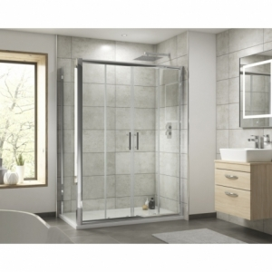 """""""Pacific"""" Double Sliding Shower Door with Square Handle 1400mm To 1700mm(W) x 1850mm(H) (4 Sizes)"""