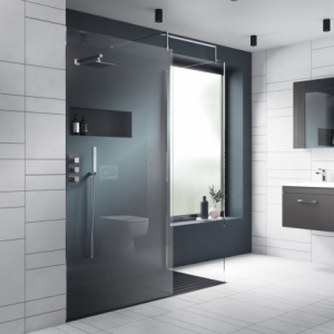 700mm(w) to 1400mm(w) Wetroom 8mm Shower Screens (Chrome Wall Frame, Toughened Glass, x1 Chrome Support Bar)