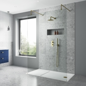 700mm(w) to 1400mm(w) Wetroom 8mm Shower Screens (Brushed Brass Wall Frame, Toughened Glass, x1 Brushed Brass Support Bar)