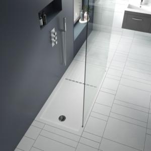 "Rectangular ""White"" Luxury Walk-In Shower Trays - 1400mm to 1700mm (W) - End Waste (5 Sizes)"