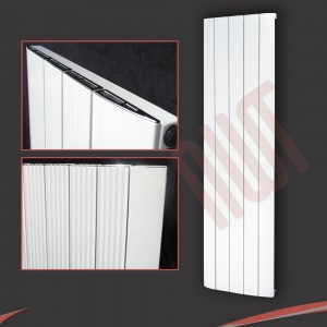 "470mm (w) x 1800mm (h) ""Cariad"" Single Panel White Vertical Aluminium Radiator (5 Extrusions)"