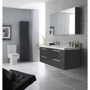 """Quartet"" Gloss Grey 1347mm(W) x 715mm(H) 3 Door Mirror Cabinet"