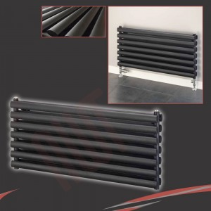 "1000mm (w) x 500mm (h) ""Brecon"" Black Double Oval Tube Horizontal Radiator (14 Sections)"