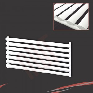 "1000mm (w) x 500mm (h) ""Brecon"" White Oval Tube Horizontal Radiator (7 Sections)"