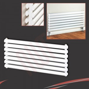 "1000mm (w) x 500mm (h) ""Brecon"" White Double Oval Tube Horizontal Radiator (14 Sections)"
