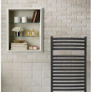 600mm x 800mm Single Heat Ellipse Black Towel Rail