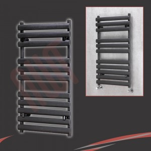 "500mm(w) x 930mm(h) ""Brecon"" Black Oval Tube Towel Rail"