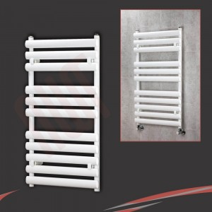 "500mm(w) x 930mm(h) ""Brecon"" White Oval Tube Towel Rail"
