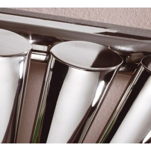 "280mm (w) x 1800mm (h) ""Brecon"" Chrome Oval Tube Vertical Radiator (4 Sections)"