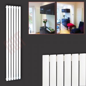"440mm (w) x 1850mm (h) ""Corwen"" White Flat Panel Vertical Radiator (6 Sections)"