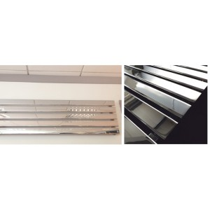 1850mm (w) x 360mm (h) Corwen Chrome Horizontal Radiator