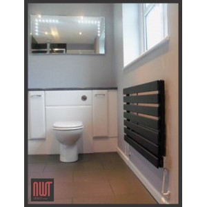 1250mm (w) x 516mm (h) Corwen Black Horizontal Radiator