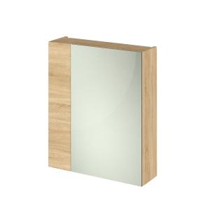 Fusion Natural Oak 600mm 2 Door with 75/25 Split Mirror Unit