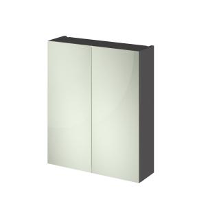 Fusion Gloss Grey 600mm 2 Door Mirror Cabinet