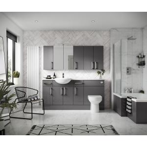 """Fusion"" Gloss Grey 600mm(W) x 715mm(H) 2 Door Mirror Cabinet"