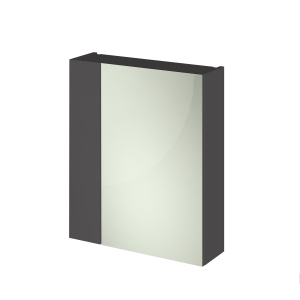 Fusion Gloss Grey 600mm Mirror Cabinet with 72/25 Split Doors