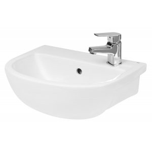 Curved Compact Semi-Recessed 400mm Basin with 1 Tap Hole